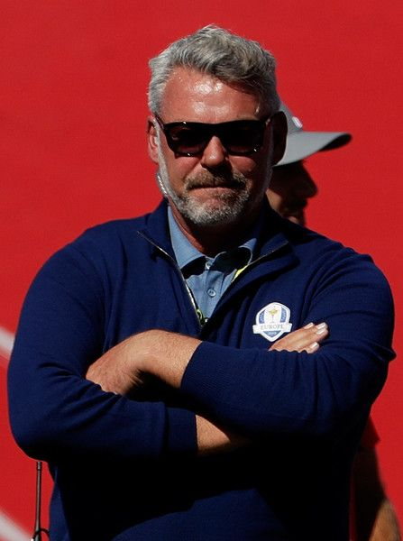 Captain Darren Clarke of Europe looks on from the first tee during afternoon fourball matches of the 2016 Ryder Cup at Hazeltine National Golf Club on September 30, 2016 in Chaska, Minnesota. - 47 of 595