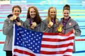 4 x 200 Free Gold Medal Relay.  Allison Schmitt, Dana Vollmer, Shannon Vreeland and Missy Franklin,  Aug 1, 2012. Schmitt and Vreeland---Making UGA proud!! Represent!!