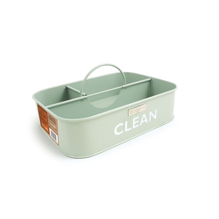 Shop Bentley English Heritage Cleaning Caddy 14.8-in W x 9.8-in H x 9.8-in D Duck Egg Steel Bin at Lowes.com