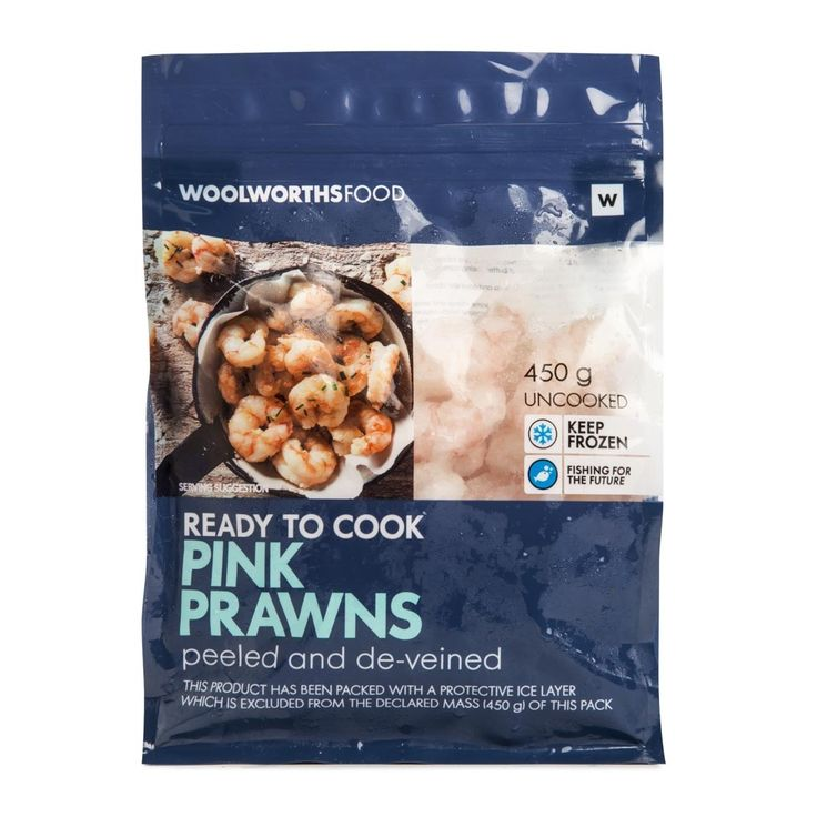 Frozen Ready to Cook Pink Prawns 450g