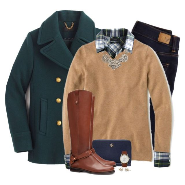 Camel, plaid & forest green More