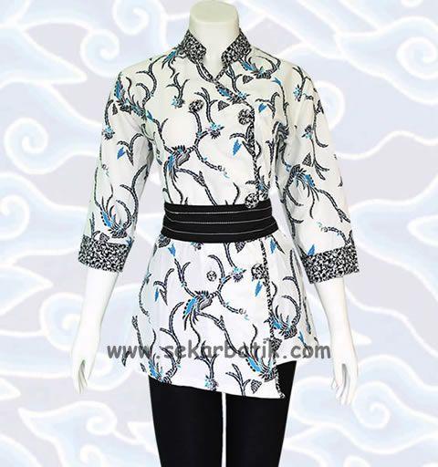 blus batik wanita warna putih di toko online sekarbatik.com koleksi blouse batik selengkapnya di http://sekarbatik.com/blus-batik/