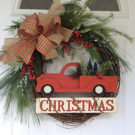 Christmas Wreath for Front Door-Holiday Wreath-Winter Wreath-Old Fashioned Christmas Wreath-Vintage Red Truck Christmas-Farmhouse Wreath  This Christmas wreath takes me back to simpler times. It brings back memories of the magic of the Christmas season, and all the joy we found in placing an evergreen wreath on the door, making ornaments for the tree and baking cookies with my mom. The iconic red pickup truck with fresh cut trees in the back is the focal point of this simple yet stunning…