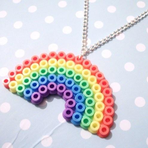 Bright Pastel Rainbow Hama Beads Necklace
