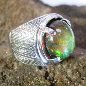 Cincin Pria Black Opal Ring 7 US