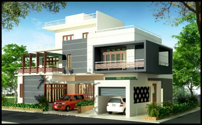 3d front elevation design elevation pinterest front for Duplex bungalow elevation