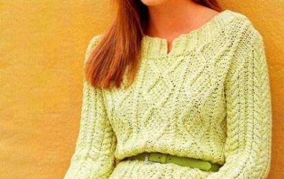 Lavori a maglia: le spiegazioni per creare un maglione verde tiglio - Questo lavoro a maglia prevede la realizzazione di un maglione a punto fantasia color verde tiglio. Seguite tutte le spiegazioni per non sbagliare neanche un ferro e non perdere il filo del lavoro.