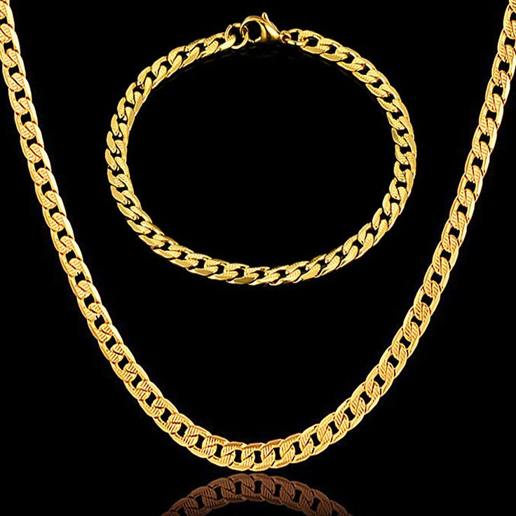 Gold Necklace Set For Men/Women Vintage Wholesale Stamp Gold Plated Choker Chain Necklace Bracelet African Jewelry Sets