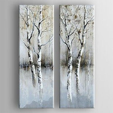 peinture à l'huile ensemble abstrait moderne de 2 main toile peinte avec étiré encadrée – USD $ 107.99