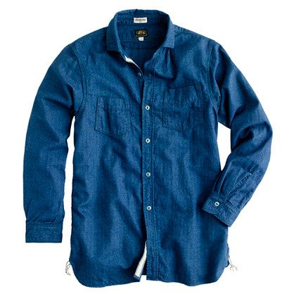 The herringbone is what makes this shirt (among other things!). - Shuttle Notes shirt in indigo herringbone - $198 - #jcrew #myshoestory