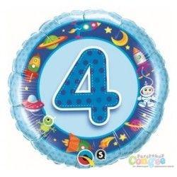 """Czwartek, 4 dzień tygonia:)  Balon Czwórka - Niebieski Balon z Helem na 4 Urodziny dla Chłopca. Wokół cyfry pięc motywy związane z tematem kosmos.  Wymiar balonu: 19"""" czyli 47cm.  Czy balon potrafi unosić się przez 2 tygodnie?   Sprawdźcie sami:)  http://www.niczchin.pl/balony-z-helem-dla-dzieci-krakow/1813-balon-urodzinowy-z-helem-niebieska-czworka.html  #balonyzhelem #balonzhelem #balonczworka #niczchin #zabawki #krakow"""