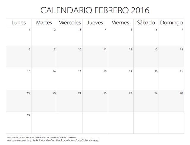 Calendarios 2016 para imprimir: Calendario Febrero 2016
