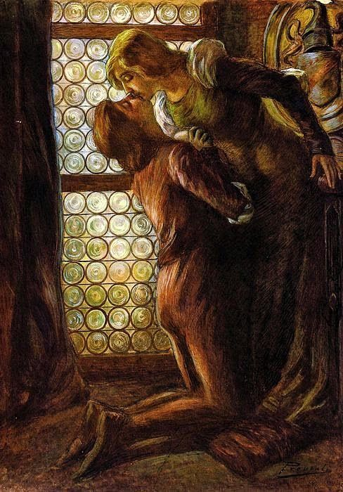 Gaetano Previati (1852-1920), Le Baiser ou Roméo & Juliette