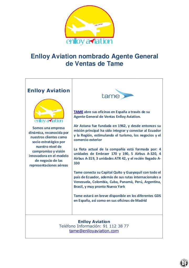 TAME Ecuador nombra a Enlloy Aviation Agente General para España - http://zocotours.com/tame-ecuador-nombra-a-enlloy-aviation-agente-general-para-espana-2/