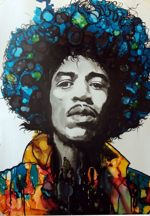 ARTFINDER: Jimi Hendrix by raffaella bertolini - A portrait of legendary rock icon Jimi Hendrix, materials used are pencil and water based inks and the psychedelic effects are achieve using alcohol based in...