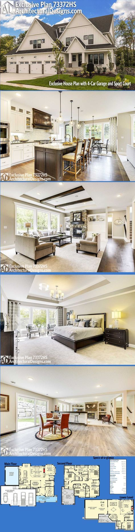 master bedroom additions over garage%0A Architectural Designs Exclusive House Plan      HS gives you   bedrooms on  the top floor and over