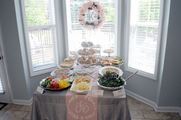 I love the monogrammed table runner! This would be cute for a bridal shower, sweet 16, etc.