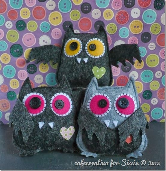 Sizzix big shot, owl die, felt bat for Halloween; fustella gufo diventa pipistrello in feltro, Lavoretti Creativi per Halloween