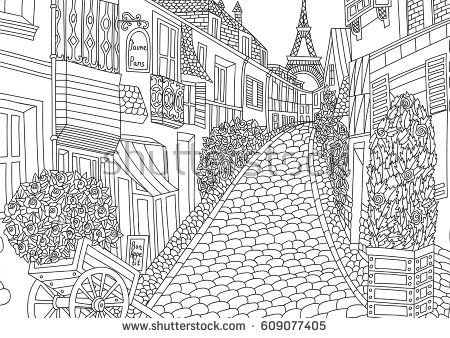 Coloring for adult with Paris. France. Coloring page in