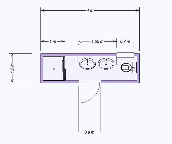 Mini salle de bain 4 80 m2 salle de bain pinterest minis for Plan salle de bain en longueur