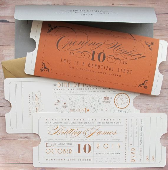 Formal Vintage Ticket Wrap Enclosure Invitation Suite for Hollywood Movie & Theater Premiere Theme for Wedding, Birthday, Bar or Bat Mitzvah