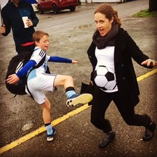 This #soccermom has a great sense of humor and was the winner of our Halloween photo contest (though I hear her nephew's mother dissaproved).  Shirt by Baby Belly Laughs on Etsy! Click now to shop.