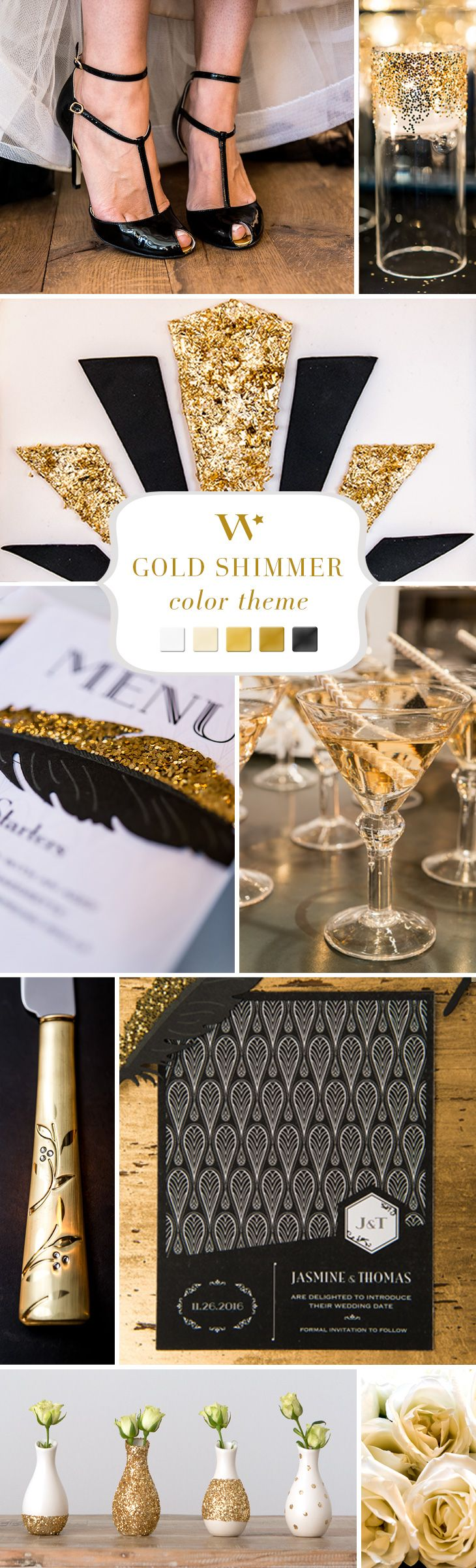Whether glamorous and opulent or muted and antique, gold is the perfect accent for almost any wedding theme. Infuse it in subtle ways for little pops of sparkle or go bold throughout your décor. No matter how you use it, gold is one color that will definitely impress.