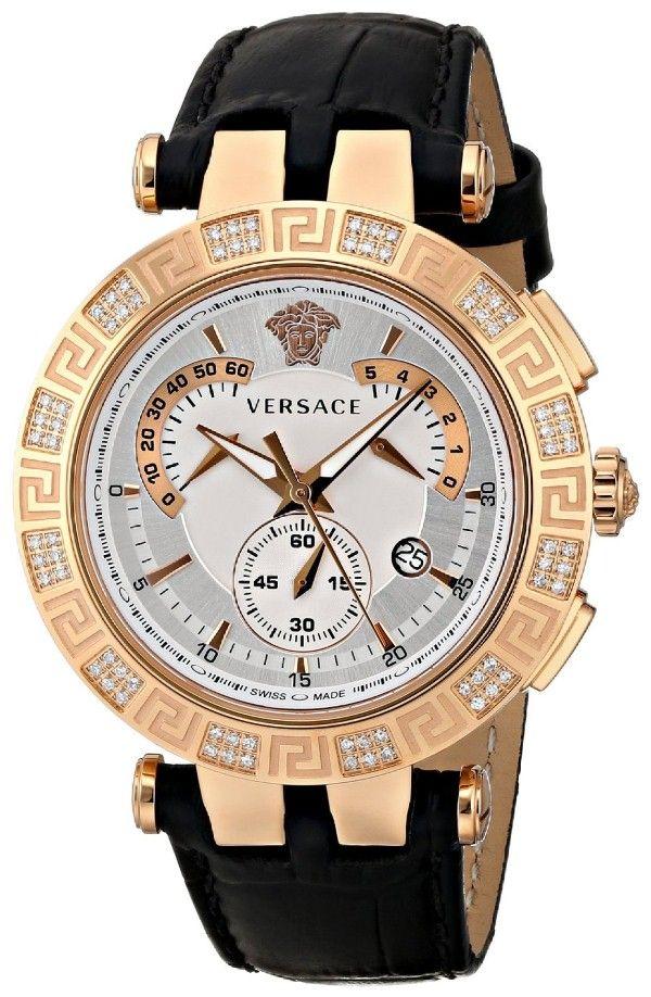 Best gold watches for men Versace Men's 23C82D002 S009 V-RACE CHRONO Analog Display Swiss Quartz Black Watch
