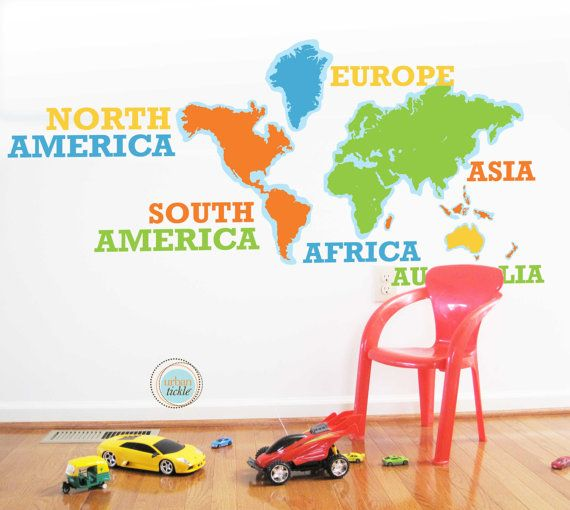 28 best world map sticker decor images on pinterest world maps world map decal with names continents typography 92 by urbantickle 9600 gumiabroncs Images