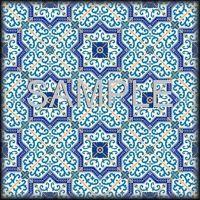 Ceramic Accent Tile - Backsplash - Moroccan Tile Medallions Blue Yellow Pattern