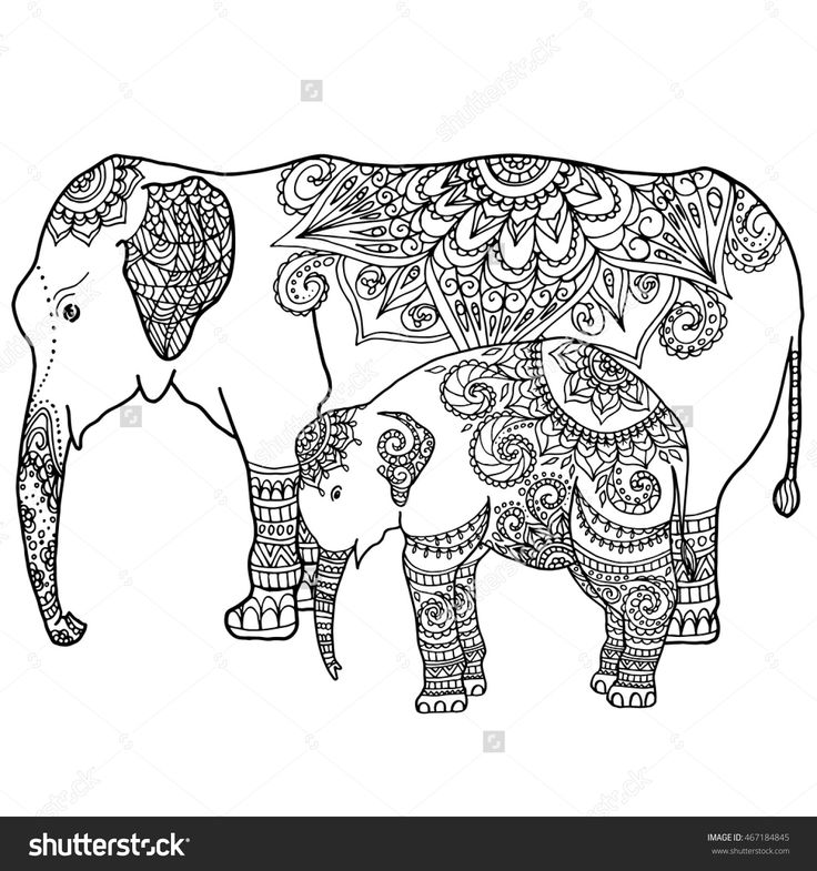 Imageshutterstock Z Stock Vector Hand Drawn Zentangle ElephantsAdult ColoringElephant