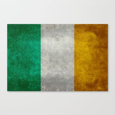 National flag of the Republic of Ireland - Vintage Version Stretched Canvas by LonestarDesigns2020 - Flags Designs + - $85.00