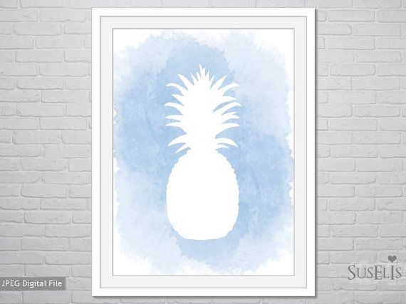 Pineapple wall art Watercolor Print Blue print 8x10 by Suselis