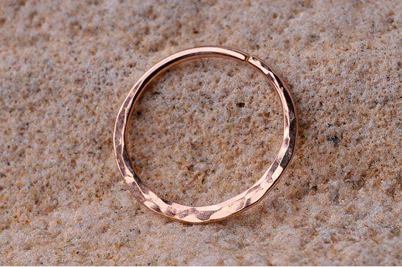 SEPTUM RING / Ear /Cartilage 14K Rose Gold filled . 18 Gauge Handcrafted hammered texture. on Etsy, 58,53kr