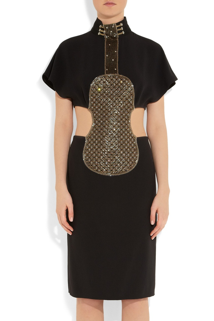 Chloé | Embellished crepe violin dress  | NET-A-PORTER.COM