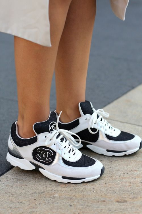 There are 3 tips to buy these shoes: white and black sneakers chanel chanel  sneakers white sneakers coco chanel chanel boots trainers fashion sporty.