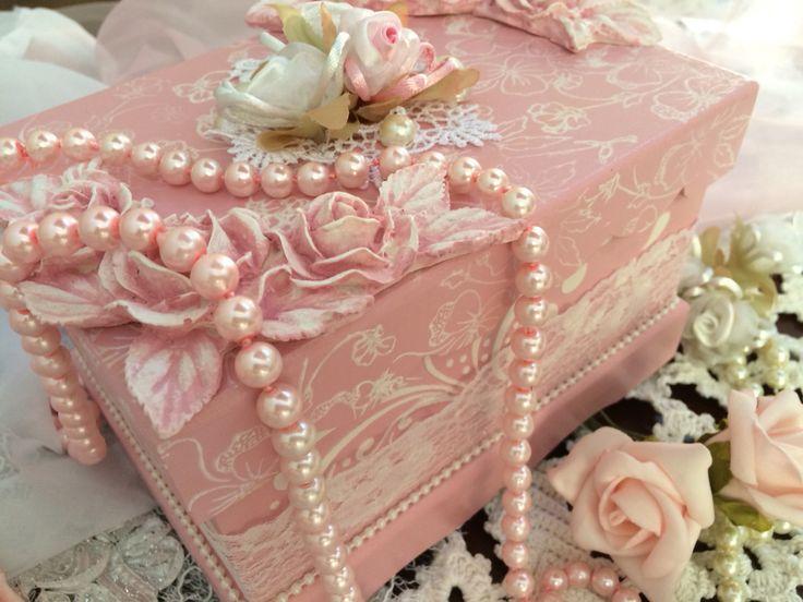 Caixa romântica Rosa  Shabby Chic