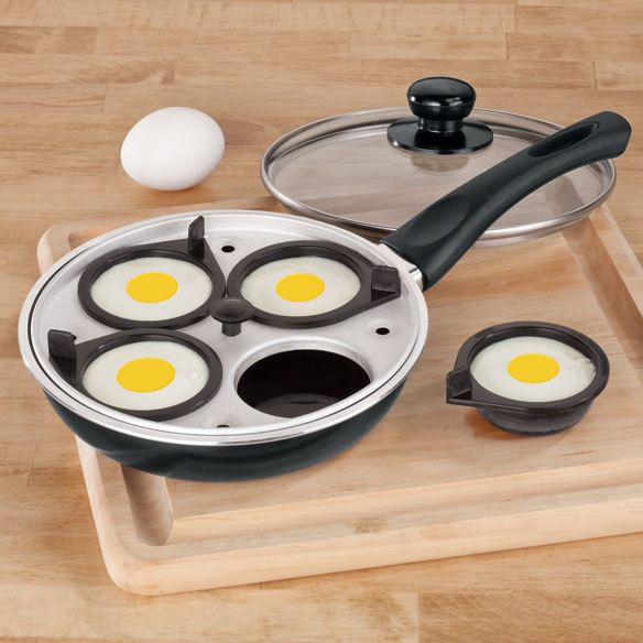 // GREY 7PC NON-STICK EGG POUCHER SET 4 REMOVEABLE CUPS MARBLE EFFECT IN  BLACK