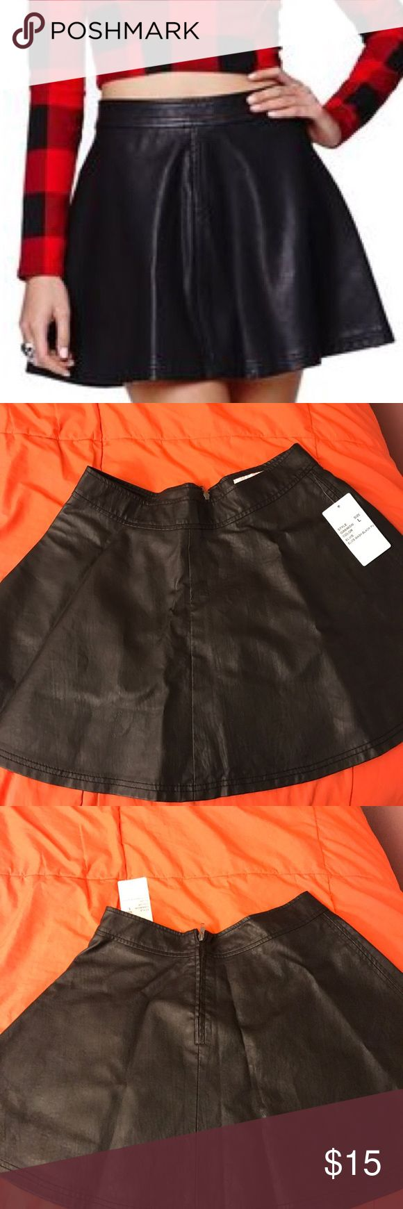 GYPSY WARRIOR Faux Leather Skater Skirt Gypsy Warrior Faux Leather Skater Skirt with back zipper detail. Would look perfect with tights and combat boots. NWT, never worn. Gypsy Warrior Skirts Circle & Skater