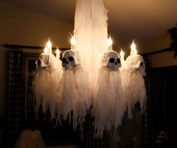Halloween chandelier makeover by Halloween Forum member Hilda