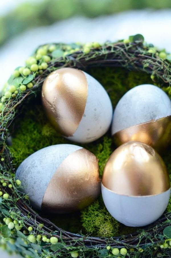 ostereier bilder goldakzente ostereier bemalen osterdeko basteln
