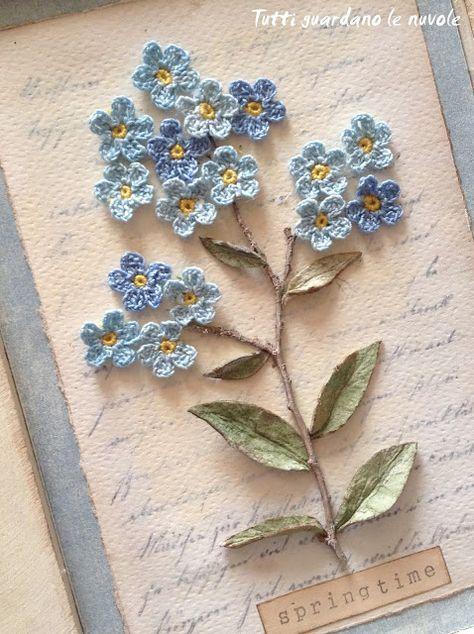 Una piccola card ed un quadro in stile botanico, con fiori a crochet e materiali naturali. Decorazione di primavera. Nontiscordardime. Vintage. Springtime. Tutorial. Shabby.