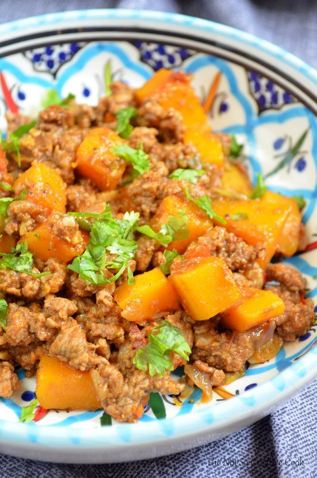 Whole30 Spicy Ground Beef And Butternut Squash The Not So Creative Cook Chicken And Butternut Squash Butternut Squash Casserole Ground Pork Recipes