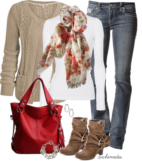 """A Pop Of Red"" by archimedes16 on Polyvore. Guess which part is my favorite? That's right - the RED bag!! ~B~"