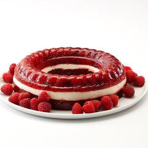 Raspberry Gelatin Ring. Uses raspberry Jell-o, raspberries and cream cheese.