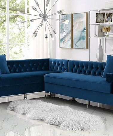 Loving This Navy Blue Alison On Tufted Velvet Left Corner Sectional Sofa Zulily Zulilyfinds