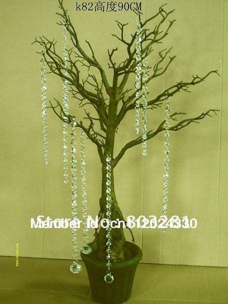 and event Decorative statue tree Artificial Branch wedding table top tree with 2.4 meter crystal Garland  Chain
