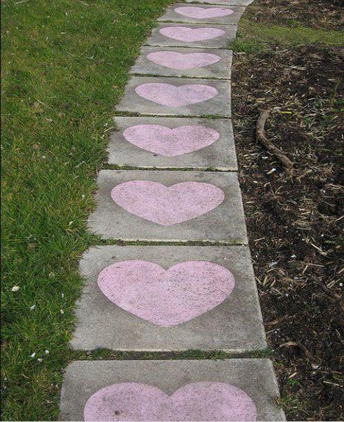 A path with a heart (flagstone,hearts,path,walkway)