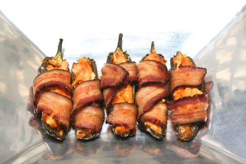 Bacon-wrapped buffalo chicken jalapeno poppers.