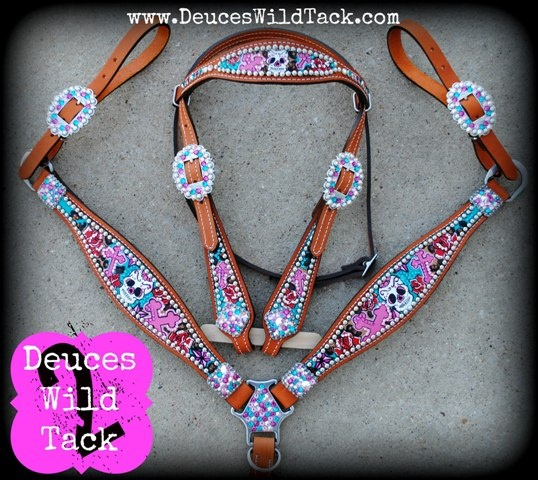 BLinGed OuT SkuLL and CroSS TacK SeT